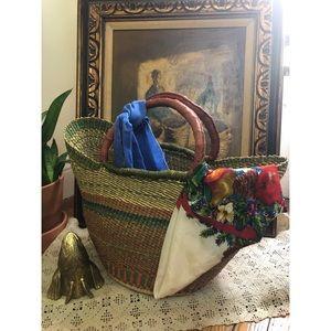 Vintage-Silk-Fruit & Foliage Liz Claiborne-Scarf